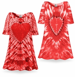 SALE! Fiery Red Heart Tie Dye Supersize X-Long Plus Size T-Shirt + Add Rhinestones 0x 1x 2x 3x 4x 5x 6x 7x 8x