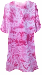 SOLD OUT! Fuchsia Hot Pink Tie Dye Plus Size T-Shirts 2x