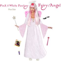 SALE! Plus Size & Supersize Pink & White Fairy Angel Costume + Accessory Kit! Lg XL 1x 2x 3x 4x 5x 6x 7x 8x 9x
