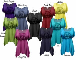 FINAL CLEARANCE SALE! Gorgeous Colorful Slinky Solid Colors Supersize & Plus Size Babydoll Tops 0x 1x 3x 4x 8x