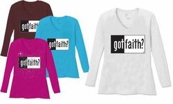 SALE! Got Faith V Neck / Round Neck Long Sleeve Plus Size Shirt White Teal Raspberry Brown Teal Lime Wine 5x