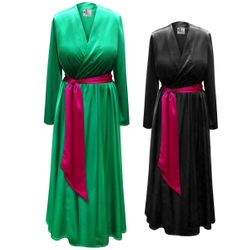 SALE! Plus Size Satin Robe, Gathered Waist with Attached Belt in Many Colors! Plus & Supersize 0x 1x 2x 3x 4x 5x 6x 7x 8x 9x