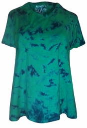 SALE! Green With Navy Tie Dye Round Neck Plus Size & Supersize T-Shirts XL 2x 3x 4x 5x 6x 7x 8x