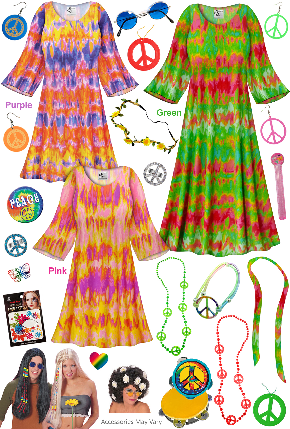 sale! heat wave print hippie dress - 60's style retro plus size