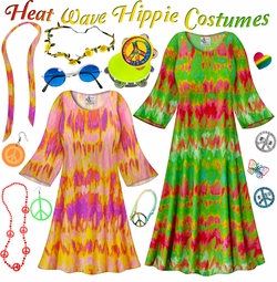 SALE! Heat Wave Print Hippie Dress - 60's Style Retro Plus Size & Supersize Halloween Costume Kit Lg XL 0x 1x 2x 3x 4x 5x 6x 7x 8x 9x