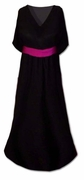 CLEARANCE! Beautiful Black Slinky Plus Size Supersize V-Neck Dress With Contrasting Belt 6x