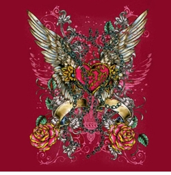 SOLD OUT! Hot! Tattoo Prints! Sublimation Winged Heart Plus Size & Supersize T-Shirts S M L XL 2x 3x 4x 5x 6x 7x 8x