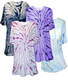 SALE! Light Aqua, Navy, Magenta, or Purple Swirl Plus Size Tie Dye T-Shirts XL 2x 3x 4x 5x 6x