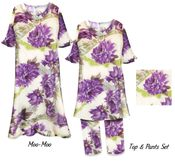 CLEARANCE! Light Beige With Big Purple Flowers Print Plus Size Supersize Moo Moo PJ Dress 5x