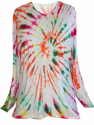 SOLD OUT!  Long or Short Sleeve White Red Green Yellow Bright Swirl Tie Dye Plus Size T-Shirt Xl 2x 3x 4x 5x 6x