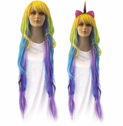SALE! Colorful Long Side Bangs Rainbow Cosplay Adult Women's Wig