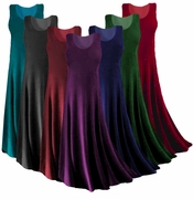 CLEARANCE! Plus Size Solid Color Slinky Tank Dress 0x 3x