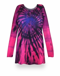 SALE! Pink Tie Dye Round Neck Long Sleeve Plus Size T-Shirt 4x