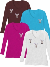 FINAL CLEARANCE SALE! Mini Silver Shiny Angels V Neck / Round Neck Long Sleeve Plus Size Shirt Black Brown Purple 4x 5x