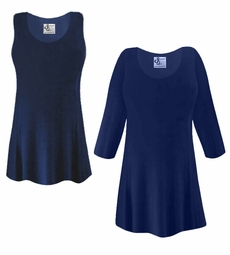 FINAL CLEARANCE SALE! Plus Size Navy Blue Slinky Top 1x 2x