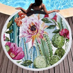 "SALE! Cactus Garden Print Round Mandala 60"" Oversize Beach Towel With Tassels!"