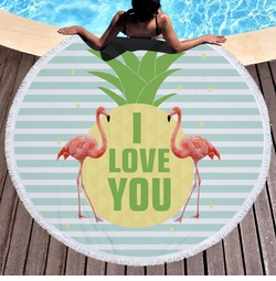 """SALE! I LOVE YOU Pineapple Flamingos Print Round Giant 60"""" Oversize Beach Towel With Tassels!"""