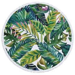 "SALE! Jungle Leaves Print Round 60"" Giant Oversize Beach Towel With Tassels!"
