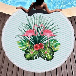 "SALE! Kissing Flamingos Print Round Giant 60"" Oversize Beach Towel With Tassels!"