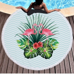 """SALE! Kissing Flamingos Print Round Giant 60"""" Oversize Beach Towel With Tassels!"""