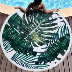 """SALE! Jungle Palm Print Round 60"""" Giant Oversize Beach Towel With Tassels!"""