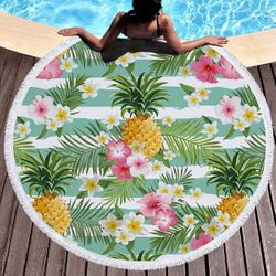 "SALE! Pineapple Print Round Giant 60"" Oversize Beach Towel With Tassels!"