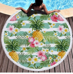 """SALE! Pineapple Print Round Giant 60"""" Oversize Beach Towel With Tassels!"""