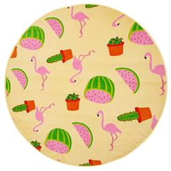 "CLEARANCE SALE! Watermelon Flamingos & Cactus Print Round Giant 60"" Oversize Cotton Beach Towel!"