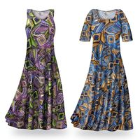 CLEARANCE! Nifty Squares Slinky Print Plus Size & Supersize Standard or Cascading A-Line or Princess Cut Dresses & Shirts 3x