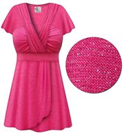 SALE! Pink with Silver Glimmer MAGIC BABYDOLL Top In Plus Size & Supersize 7x