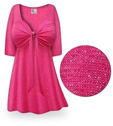 SOLD OUT! SALE Pink with Silver Glimmer Tie Babydoll Shirt Plus Size & Supersize7X