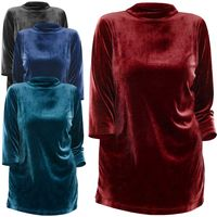 NEW! Plus Size Black Burgundy Blue or Teal Velour Mockneck Top 3x 4x 5x