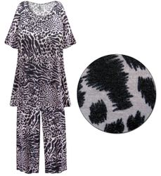 SALE! Plus Size Black & Gray Animal Print 2 Piece Pajama Pant Set 5x