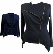 SALE! Plus Size Black or Navy Sharktail Side Zippered Jacket 3x