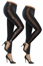 SALE! Plus Size Black Stretchy Sheer and Glittery Sheer Side Inset Leggings L XL 0x 1x 2x 3x 4x 5x 6x