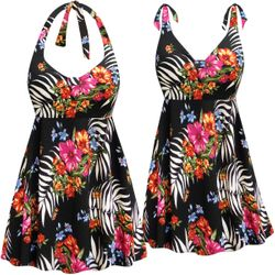 CLEARANCE! Plus Size Black Tropical Floral Print Halter or Shoulder Strap 2pc Swimsuit/SwimDress 0x 3x