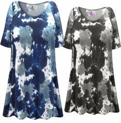 SOLD OUT! Plus Size Blue Marble Print Extra Long Poly/Cotton T-Shirts Size 5x