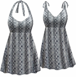 SOLD OUT! Plus Size Cool Gray Snake Print Halter or Shoulder Strap 2pc Swimsuit/SwimDress 2x