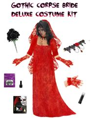 SALE! Plus Size Corpse Bride or Plus Size Gothic Ghost Bride Costume Supersize in Red + Accessory Kit! Lg XL 1x 2x 3x 4x 5x 6x 7x 8x 9x