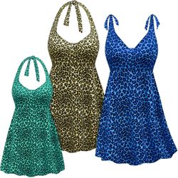 CLEARANCE! Plus Size Cream, Blue or Green Leopard Print Halter or Shoulder Strap 2pc Swimsuit/SwimDress 4x