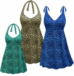 CLEARANCE! Plus Size Cream, Blue or Green Leopard Print Halter or Shoulder Strap 2pc Swimsuit/SwimDress  3x