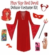 FINAL CLEARANCE SALE! Plus Size Devil Halloween Costume + Accessory Kit! Plus Size & Supersize 0x