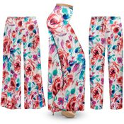 CLEARANCE! Plus Size Floral Slinky Print Palazzo Pants - Tapered Pants - Size 3x