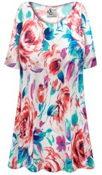 CLEARANCE! Plus Size Floral Slinky Print Short or Long Sleeve Shirts - Tunics - Tank Tops 3x