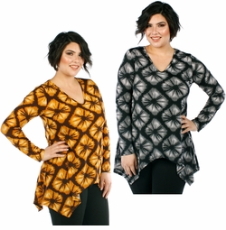 SALE! Plus Size Gray or Mustard Sharkbite V-Neckline Floral Pattern Long Sleeved Top  4x 5x
