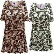 SOLD OUT! Plus Size HEAVY WEIGHT Green Camouflage Print Extra Long Poly/Cotton T-Shirts 4x