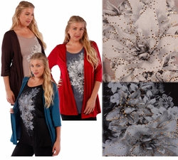 SOLD OUT! Plus Size Mock 2pc Jacket & Top! Lightweight Rayon/Lycra Blend in Red Teal or Brown Plus Size Shirts