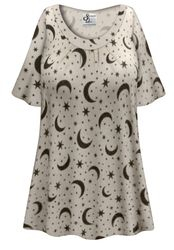 CLEARANCE! Plus Size Moon & Stars Print Pajama Top 9x