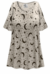 SOLD OUT ! Plus Size Moon & Stars Print Pajama Top