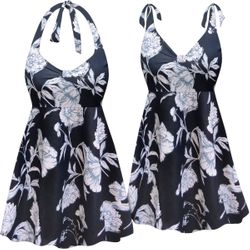 CLEARANCE! Plus Size Moonlit Garden Print Halter or Shoulder Strap 2pc Swimsuit/SwimDress 2x 7x